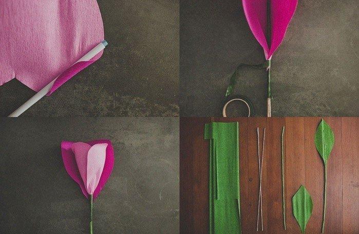 Розы из гофробумаги своими руками - фото 3