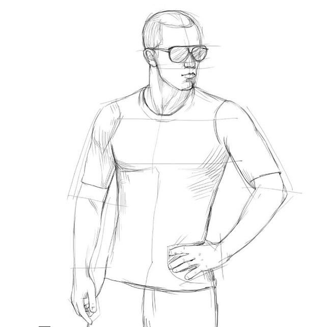 Як намалювати хлопця, схема 4