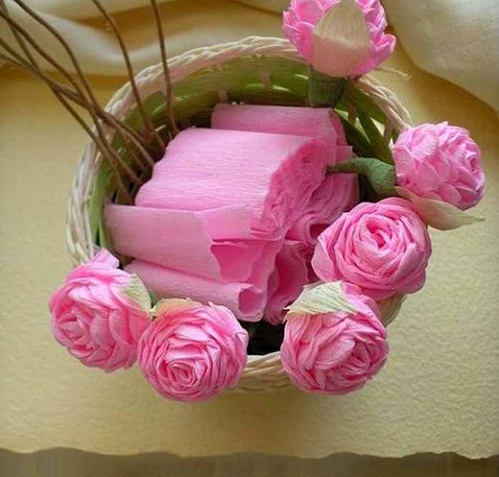 Розы из гофробумаги своими руками - фото 15