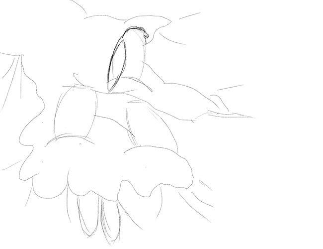 Рисуем снегирей на ветке. Шаг 4
