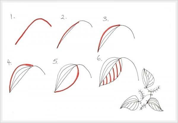 Рисуем орнамент листочек