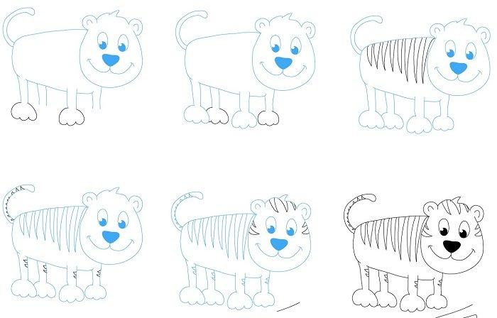 Как нарисовать тигренка поэтапно, фото 10