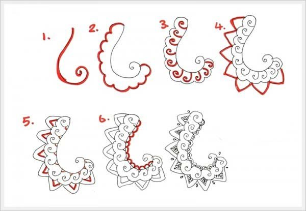 Малюємо орнамент листя крок 2