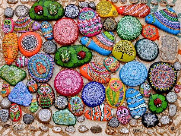 Летние поделки с детьми своими руками - раскрашенные камушки, фото 5