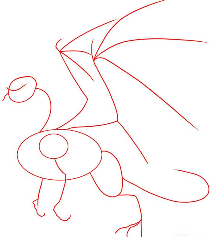 Как рисовать драконов шаг за шагом, схема 6 - этап 1