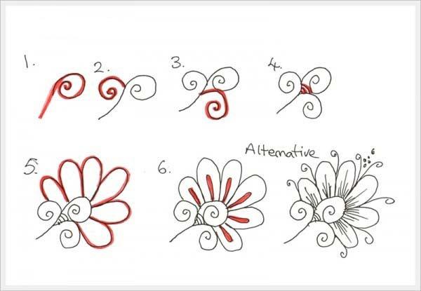 Орнамент цветы шаг 1