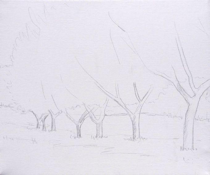 Рисуем весенний пейзаж мастихином, шаг 1
