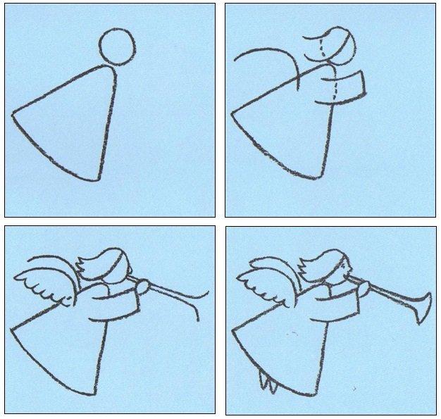 Как нарисовать ангела схема 7