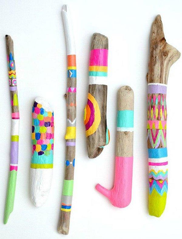 Летние поделки с детьми своими руками - раскрашенные палки, фото 4