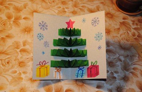 Новорічна листівка ялинка з паперу