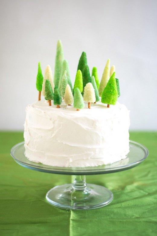 Ялиночки на новорічний торт