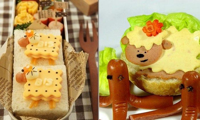 Бутерброд в виде овечек, барашков