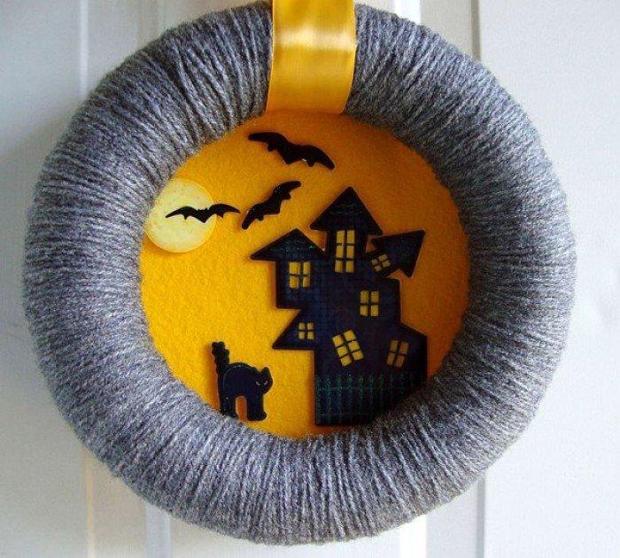 Хэллоуин. Праздничный декор. Венок на дверь
