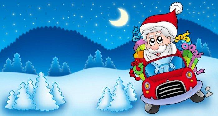 Дед Мороз на автомобиле