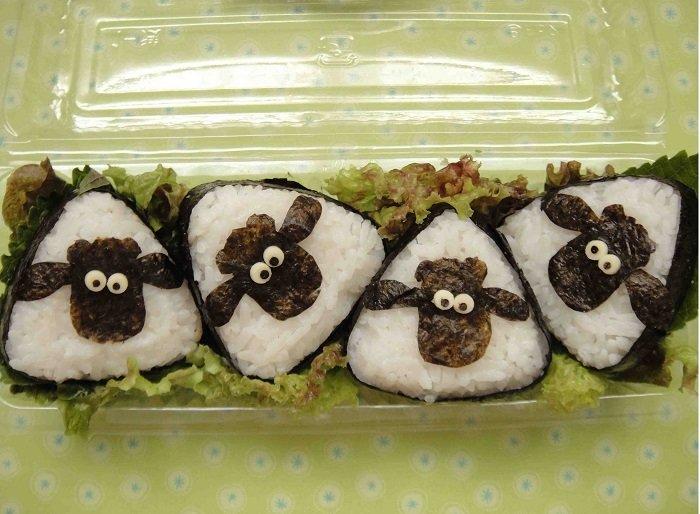 Суши в виде овечек, барашков