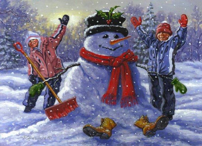 Зимние рисунки и зимние пейзажи известных художников, фото 20
