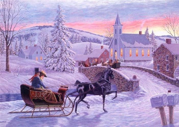 Зимние рисунки и зимние пейзажи известных художников, фото 21
