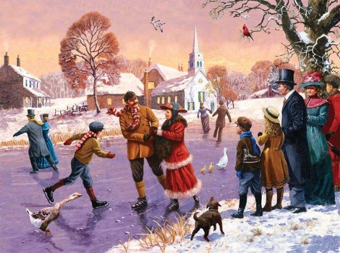 Зимние рисунки и зимние пейзажи известных художников, фото 12