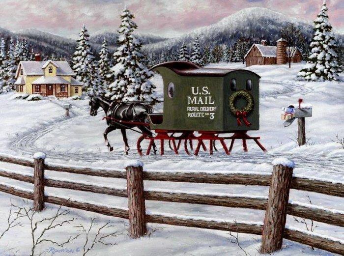 Зимние рисунки и зимние пейзажи известных художников, фото 19