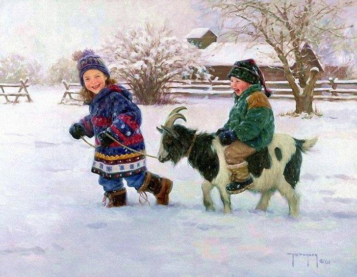 Зимние рисунки и зимние пейзажи известных художников, фото 7