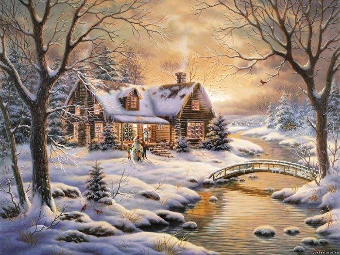 Зимние рисунки и зимние пейзажи известных художников, фото 24