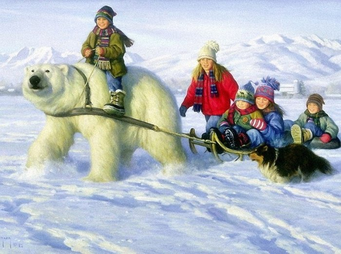 Зимние рисунки и зимние пейзажи известных художников, фото 9