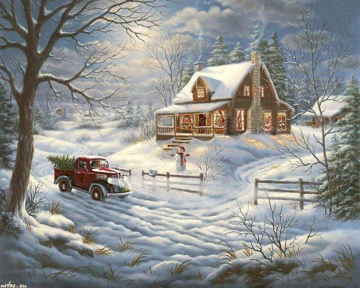 Зимние рисунки и зимние пейзажи известных художников, фото 25