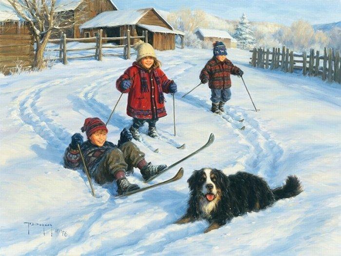 Зимние рисунки и зимние пейзажи известных художников, фото 10