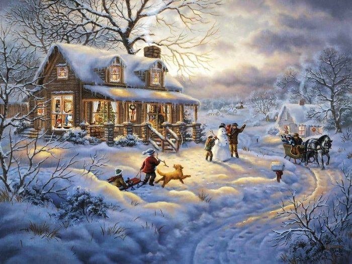 Зимние рисунки и зимние пейзажи известных художников, фото 23