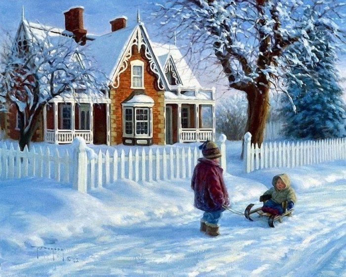 Зимние рисунки и зимние пейзажи известных художников, фото 11