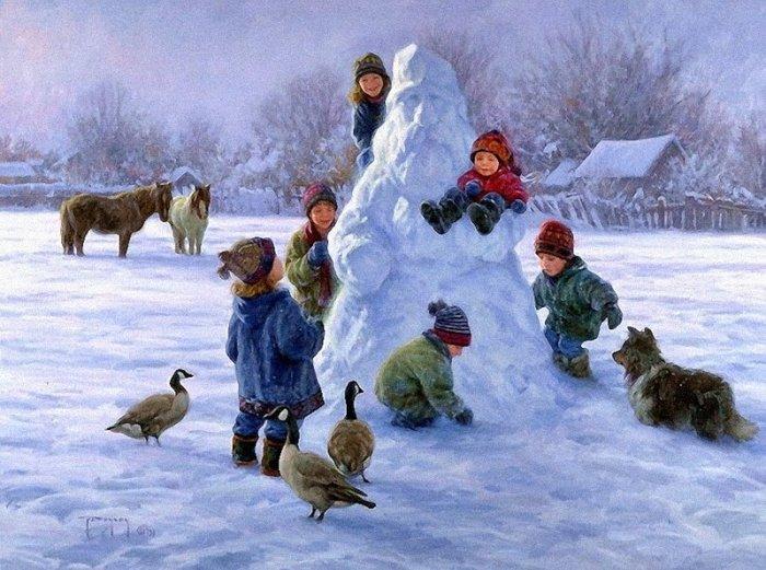Зимние рисунки и зимние пейзажи известных художников, фото 8