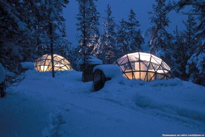 Готель в Лапландії зі скляною стелею, фото 2