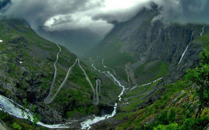 Красивые пейзажи природы. Фото - Норвегия, дорога Трольштиген