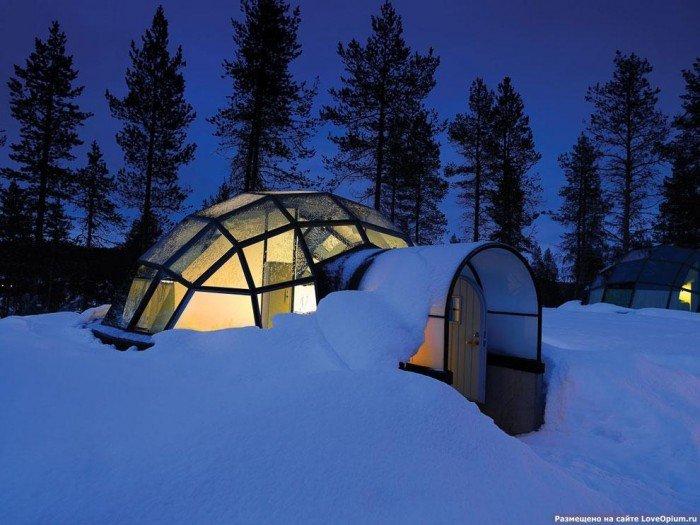 Готель в Лапландії зі скляною стелею, фото 1