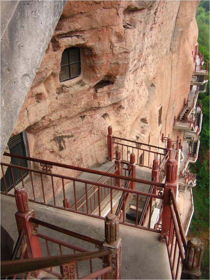 Пещерный монастырь Майцзишань в Китае. «Пшеничная гора», фото 11