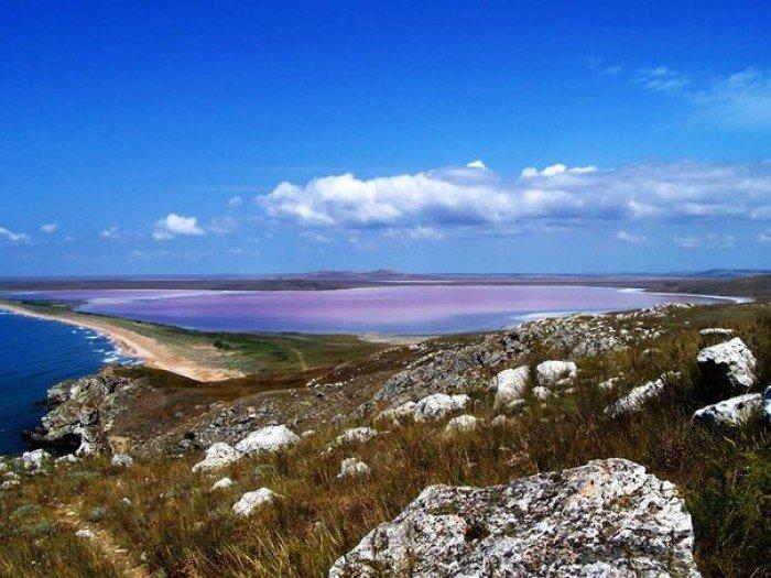 Кояшское озеро в Крыму, розовое озеро - фото 2