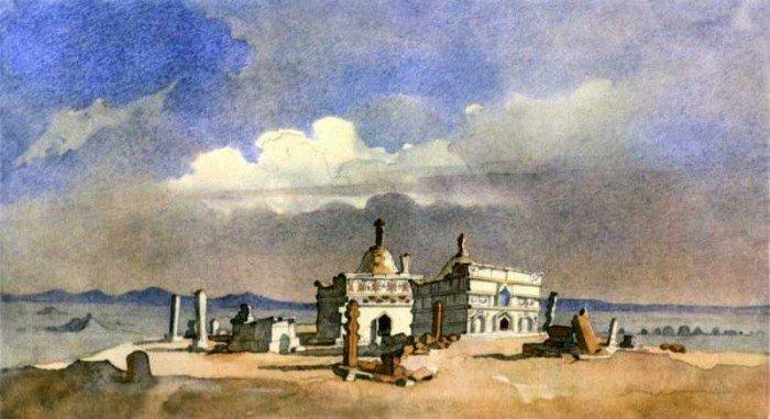 Акварели Тараса Шевченко. Туркменские абы (гробницы) в Каратау