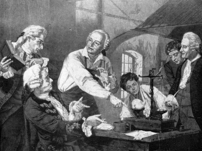 Михаил Ломоносов в своей лаборатории