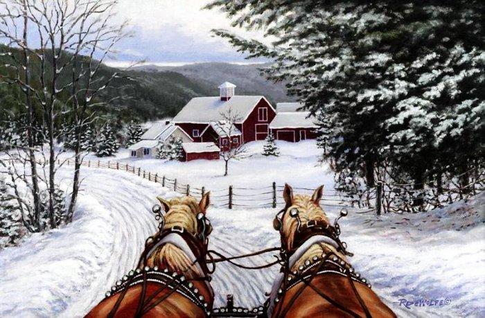 Зимние рисунки и зимние пейзажи известных художников, фото 18