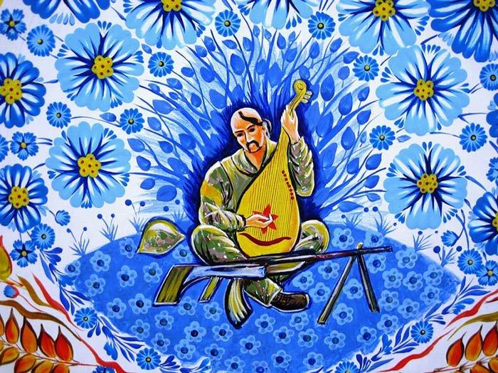 Петриковская роспись, рисунок кобзарь